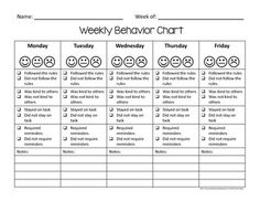 ... pay teachers student behavior chart weekly behavior management tool
