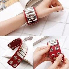 2016 Fashion 3 Color Punk Rock PU Leather Bracelets For Women Charm Rivets Wristband Wrap Bracelet Men Jewelry Pulseira De Couro
