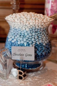Pink & Blue Candy Buffet #wedding #candy #candywarehouse  M  Chocolate Gems  #Ambre