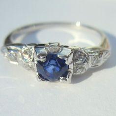 Deco Diamond Sapphire Ring, 18K White Gold Engagement
