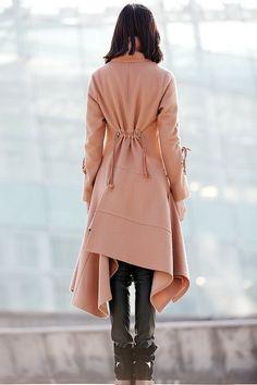Asymmetrical Swing Coat Woman Jacket in Light Brown by YL1dress