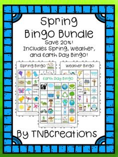 AVE 20% with this Spring Bingo Bundle! Includes Spring, Weather, and Earth Day Bingo! So much fun!  In this product you will receive:  Spring Bingo  Weather Bingo  Earth Day Bingo  Each Bingo includes:  30 different printable Bingo cards (24 spaces of pictures plus 1 free space on each card) Calling cards with each picture and words that say the name of the image to be cut out