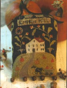 Primitive Folk Art  Door Adornment Punchneedle Pattern:  PUMPKIN HILL  - Pre-stamped weavers cloth included. via Etsy