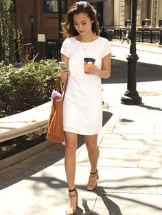 Trend we love: Crisp spring whites in a simple silhouette—like Jamie Chung's Banana Republic shift dress—paired with casual accessories looks clean, cool, and anything but bridal