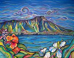 """""""Diamond Head Wonder"""" by Colleen Wilcox  View of Diamond Head from Waikiki  Acrylic on Canvas  - 24""""x30""""  Original: Sold  Prints: Available"""