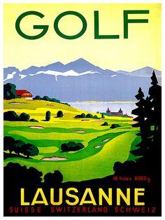Golf Art Print Zwitserse reizen Poster Zwitserland door Blivingstons