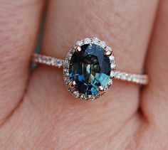 Green blue sapphire engagement ring. Peacock by EidelPrecious