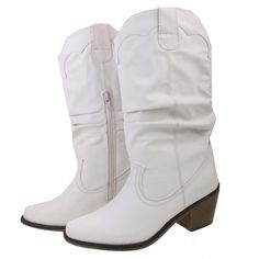 Ladies White Leather Look Mid Calf Cuban Heeled Cowboy Boots: Amazon.co.uk: Shoes & Bags