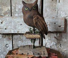 Owlyn the Primitive Owl by Countryfolk Keepsakes