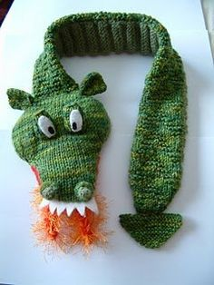 Fiery Dragon Scarf- Use this free knitting pattern to make an enchanting scarf for any toddler with an imagination intrigued with fantasy. The Fiery Dragon Scarf is fun to knit and makes a great gift. I really need to learn how to knit and crochet. Baby Knitting Patterns, Knitting For Kids, Loom Knitting, Free Knitting, Knitting Projects, Crochet Patterns, Knitting Toys, Beginner Knitting, Finger Knitting
