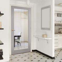 Textured Vertical 1 Light Grey Door - Clear Glass Frosted Lines.    #interiordesign #design