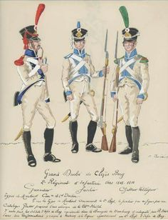 Granatiere, fuciliere e cacciatore Volteggiatore del 2 rgt. fanteria di Cleves - Berg Empire, Army Uniform, Military Uniforms, German Uniforms, Napoleonic Wars, Military History, Princess Zelda, Fictional Characters, Austria