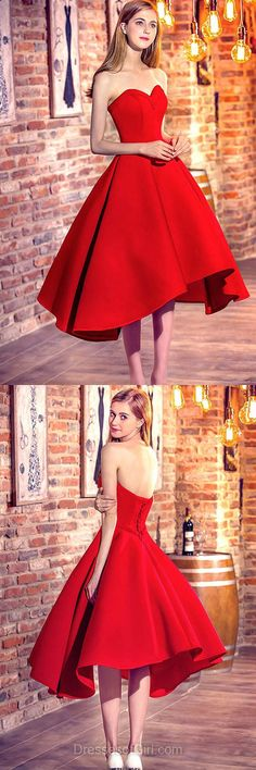 Red Prom Dresses, Sweetheart Prom Dress, High Low Evening Dresses, Low Back Party Dresses, Satin Formal Dresses
