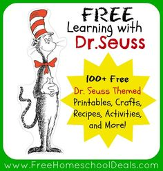 Learning with Dr. Seuss: 100  Free Dr. Seuss Themed Printables, Crafts, Recipes, and Activities
