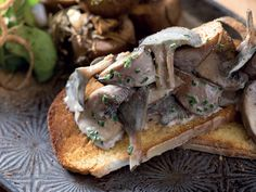 Roasted marrow and wild mushrooms on toast http://www.eatout.co.za/recipe/roasted-marrow-wild-mushrooms-toast/