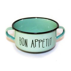A new dining porcelain enamel bowl from Louisdog, this 'Bon Appétit' bowl is a modern and unique design.   Green in colour and made of high-quality porcelain enamel, this bowl will make a stylish addition to any home.