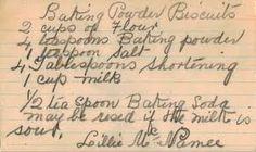 Baking Powder Biscuits hand written recipe card