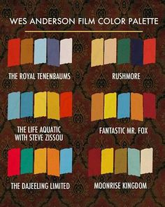 The tables would be styled around this Wes Anderson color palette and complimented with props and favors from the movies.
