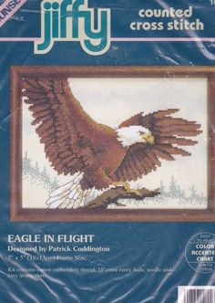 Jiffy Counted Cross Stitch Eagle in Flight Patrick Coddington 1994 Dimensions #DimensionsJiffySunset #Frame #crossstitch #eagle