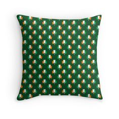 'Irish Flag Green White Orange on Green St. Patricks Day Ireland' Throw Pillow by podartist Canvas Prints, Art Prints, Summer Trends, St Patricks Day, Irish, Minimalist, Flag, Throw Pillows, Group