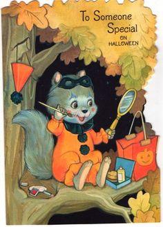 Vintage Greeting Card Halloween Squirrel