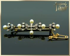 Shop for on Etsy, the place to express your creativity through the buying and selling of handmade and vintage goods. Diamond Brooch, Pearl Diamond, Diamonds, Hair Accessories, Victorian, Pearls, Yellow, Antiques, Trending Outfits