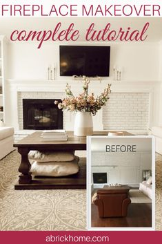 This DIY fireplace makeover is a solution to an off-center fireplace. See how we built the DIY mantel and custom bookshelves to make this beauitufl unit. Decor, Home Diy, Makeover, Diy Fireplace, Custom Bookshelves, Off Center Fireplace, Diy Home Decor, Fireplace Makeover, Home Decor