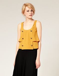 Asos. Button Front Layered Tank. Bright top, black skirt.