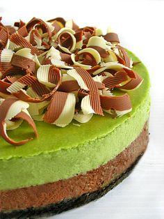 Chocolate Matcha Cheesecake.