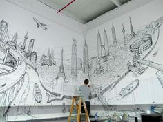 Global City: A Sprawling Mural Drawn on the Walls and Cabinets of a Kitchen by