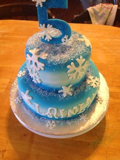 Another view fondant covered and airbrushed. Fondant snowflakes and sanding sugar