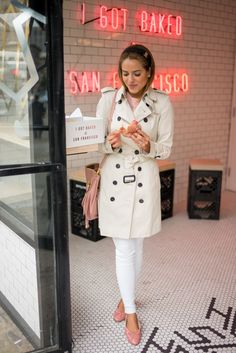 I love this look so much because it's clean and crisp. It screams Spring.. white trench, blush tones, and I adore the way she tied her trench Mr. Holmes Bakehouse - Gal Meets Glam