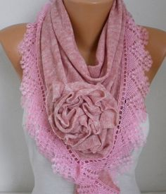 Dusty Pink Knitted Floral Scarf Shawl Cowl Lace Bridesmaid