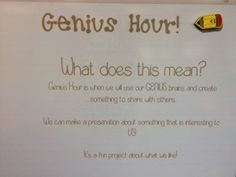 Genius Hour in First Grade - Launching