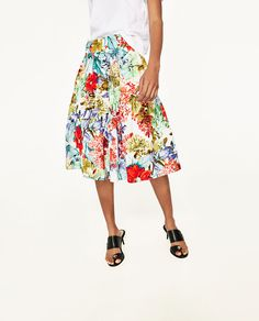 PRINTED POPLIN SKIRT WITH FRILL