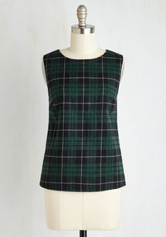 Old Cottage Try Top. It may seem impossible to fit hiking, biking, AND boating into your first day at camp, but after you do, be sure to slip into this plaid top to celebrate achieving it all. #green #modcloth