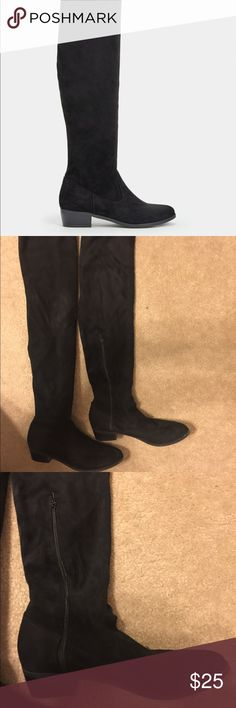 HP Best in Shoes! Suede over the knee boots 8 Just Fab Trixie style black suede over the knee boots size 8 JustFab Shoes Over the Knee Boots