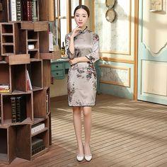 Short-length Silk Fabric Cheongsam Qipao Chinese dress E0034 - iChinesedress.com