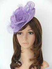 New Church Derby Cocktail Wedding Sinamay Fascinator Hat w Veil Headband Lilac 1