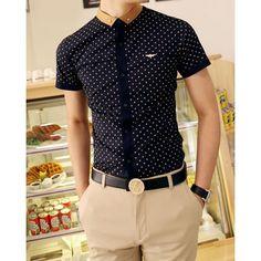 Fashion Button Down Collar Polka Dot Print Short Sleeves Polyester Shirt For Men, CADETBLUE, M in Shirts | DressLily.com