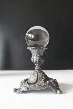 Vintage Crystal Ball on Pewter stand by Hallingtons on Etsy,