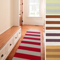 Add interest to your decor with this casual striped rug. Hand-woven with wool, this flatweave reversible designed rug will enrich any room, and the low pile makes it easy to clean.
