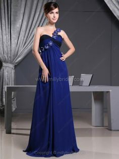A-line One Shoulder Chiffon Floor-length Flower(s) Prom Dresses