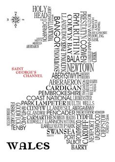 I've just found Wales Map Print. Digital print map of Wales designed using famous and not so famous locations around the country. Scotland Map, England And Scotland, Welsh Words, Welsh Language, Word Map, Pembrokeshire Coast, Aberystwyth, Cymru, Musicals