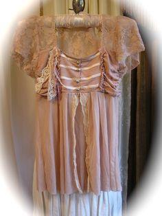 Shabby Peasant Blouse upcycled clothing romantic lacey empire waist boho sheer liliac lace XS Petite Junior size. $35.00, via Etsy.