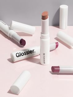 This is Glossier Generation G: a new kind of lip color that gives the look and finish of a stain, but that glides on and wears like a tinted balm. A sheer, matte, popsicle-stain flush. My favorite is Zip, a cherry red popsicle shade. Glossy Makeup, Glossy Lips, Lip Makeup, Beauty Makeup, Makeup Set, Basic Skin Care Routine, Best Lipsticks, Matte Lipsticks, Lipsticks