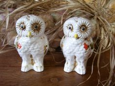 Rare Antique Holt Howard Owls Salt and Pepper by thefunnybunny, etsy