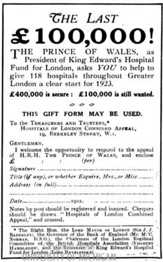 King Edward's Hospital Fund for London. 1922