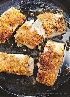 Pecan Encrusted Halibut - a deliciously simple yet impressive way to prepare the steak of seafood.