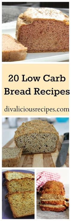 Here are 20 low carb bread recipes that are a healthier alternative to bread. All recipes are also gluten free too. Enjoy a healthier slice of bread! Recipes: http://divaliciousrecipes.com/2017/02/14/20-low-carb-bread-recipes/